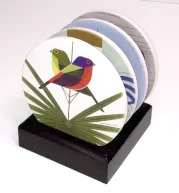 wood stand for storing Charley Harper coasters