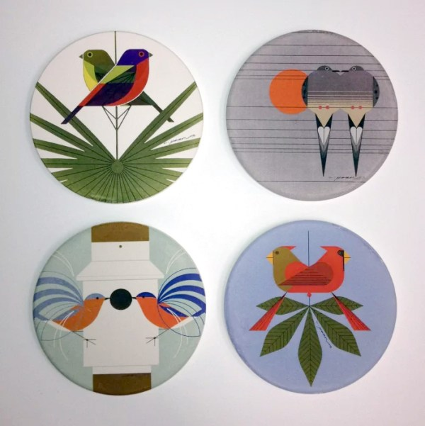 Charley Harper set of 4 coasters with images of birds titled Love Birds