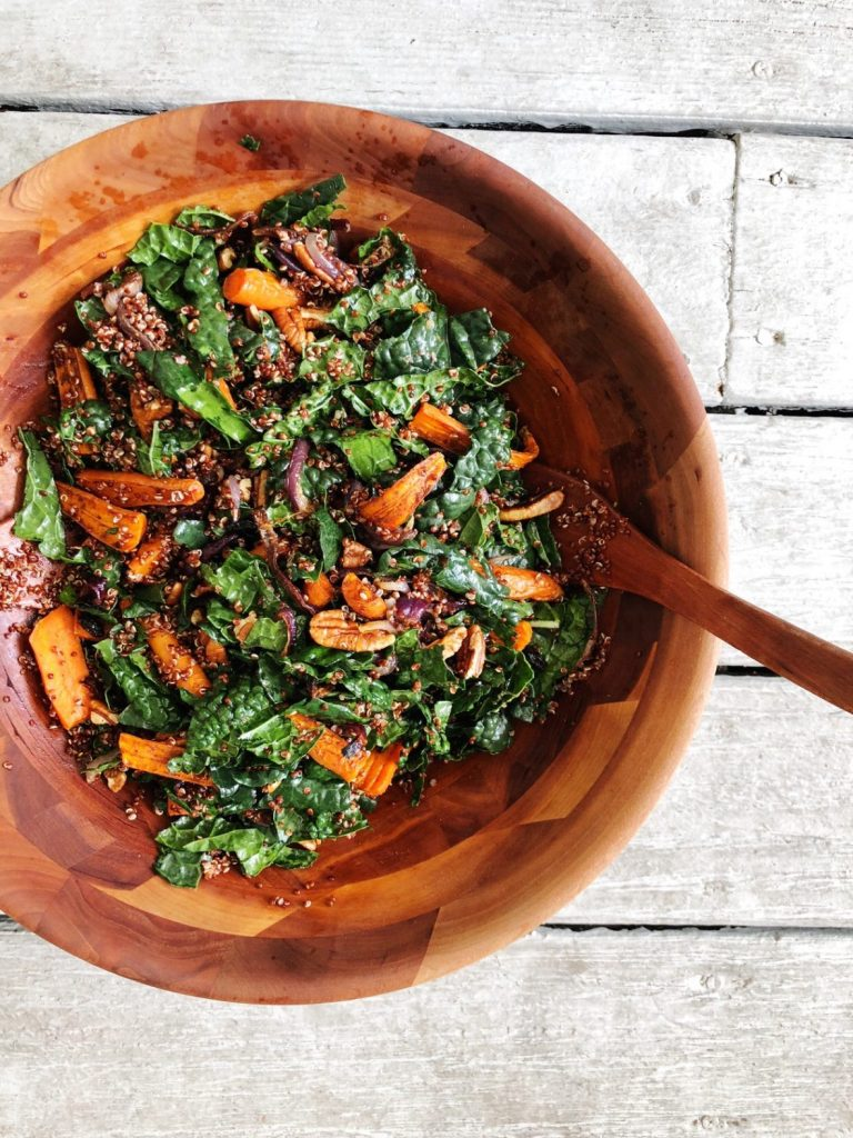 roasted carrot and kale salad