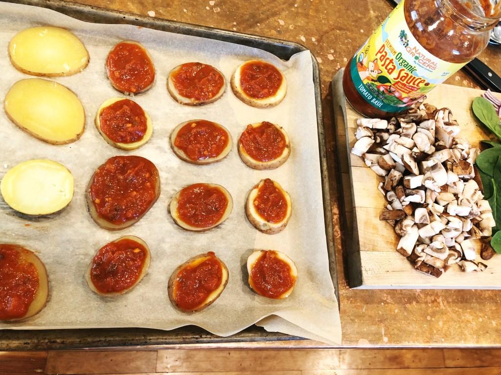 making potato pizza bites