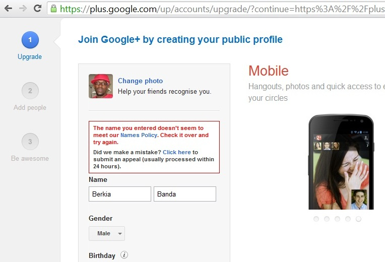 Google+ : 'weird' names not wanted! (1/2)