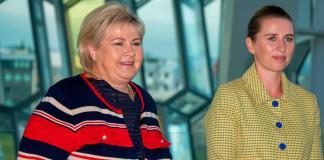 Erna Solberg premierul Norvegiei si Mette Frederiksen primul ministru al Danemarcei
