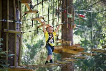 Family rafting and high rope course display picture