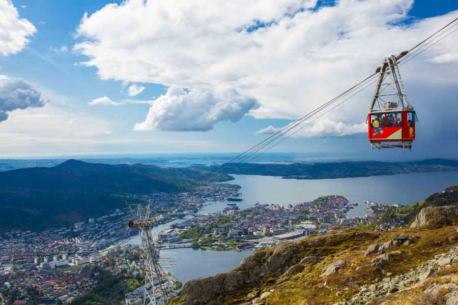 Mt. Ulriken cable car with Bergen centre in the background