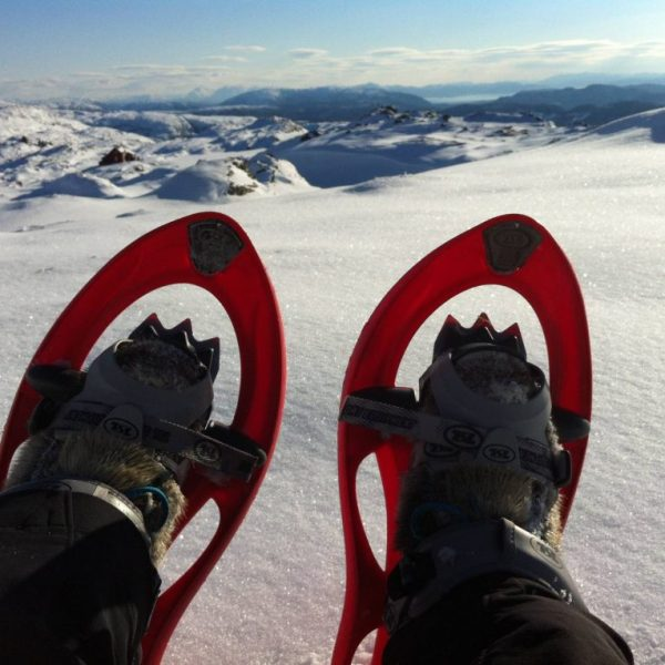 Showshoes POV on Mount Ulriken