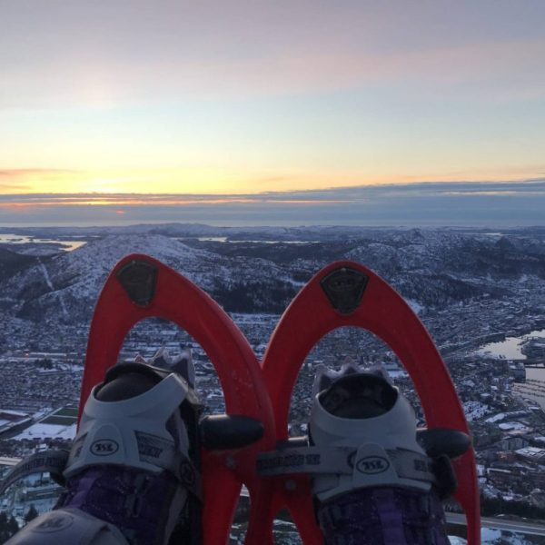Snowshoes scenic view of Bergen from Mount Ulriken