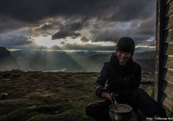 Cooking in the sunset at Trolltunga