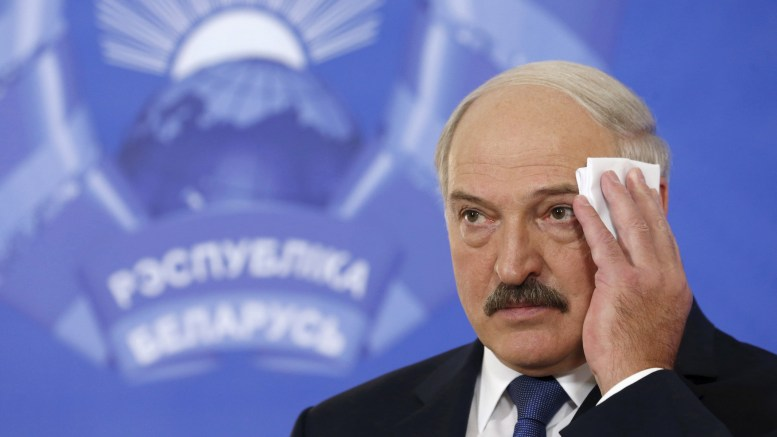Photo of Belarus' President Lukashenko at news conference during presidential election in Minsk.