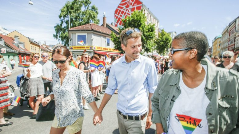 OSLO PRIDE PARADE KrF leader Knut Arild Hareide with his wife Lisa Maria LGBTQ