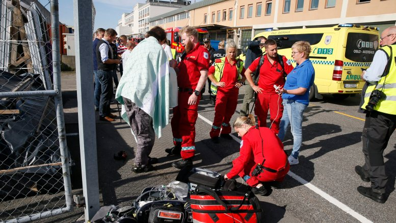 Emergency services at the site after notification of gas leak inside a building at Filipstad in Oslo.