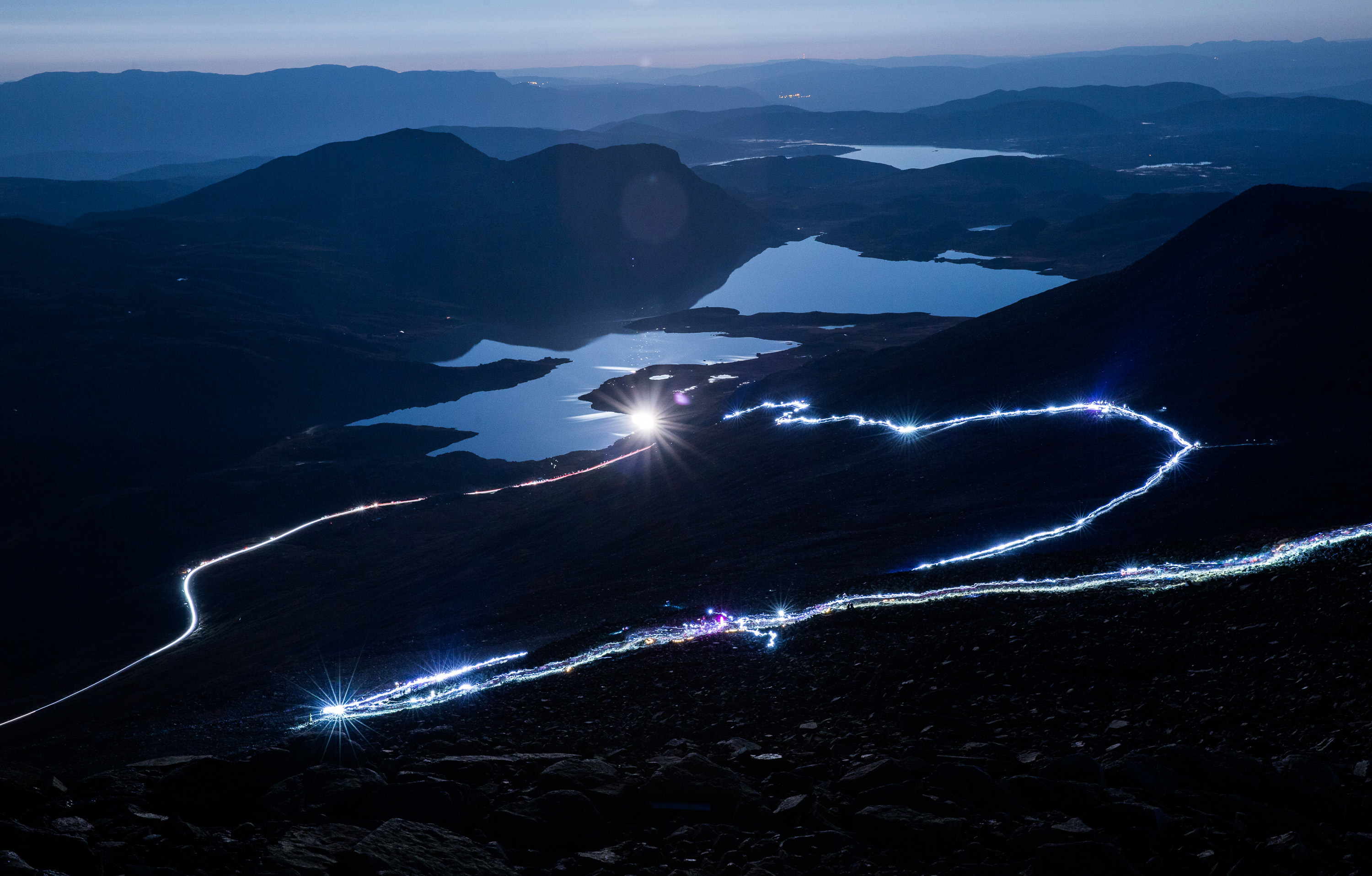 Beautiful nocturnal lighting up at Gaustatoppen