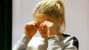 A weeping skier Therese Johaug at Thursday's press conference