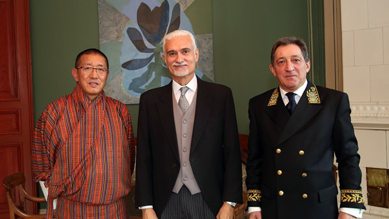 From left: Ambassador of Bhutan, H.E. Mr Kinga Singye, Ambassador of Brazil, H.E. Mr George Monteiro Prata, Ambassador of Russia, H.E. Mr Teymuraz Ramishvili. Credit: Marta B. Haga, MFA, Oslo