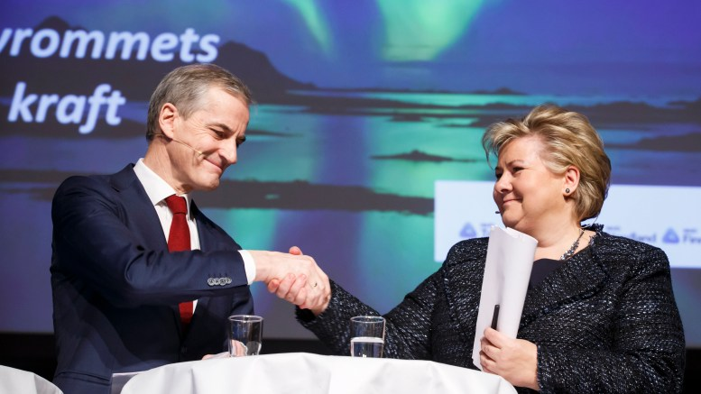 Prime Minister Erna Solberg and leader of the Labour Jonas Gahr Støre