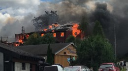 wo apartment complexes are on fire at Støren in Sør-Trøndelag.