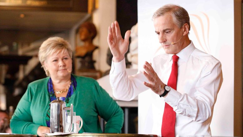 Prime Minister Erna Solberg and Jonas Gahr Støre party leader in the Labor Party election
