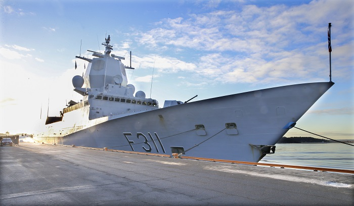 Frigate KNM Roald Amundsen at the dock in Oslo.