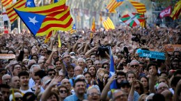 Pro-independence demonstrators cheer outside the Catalan parliament, in Barcelona, Spain