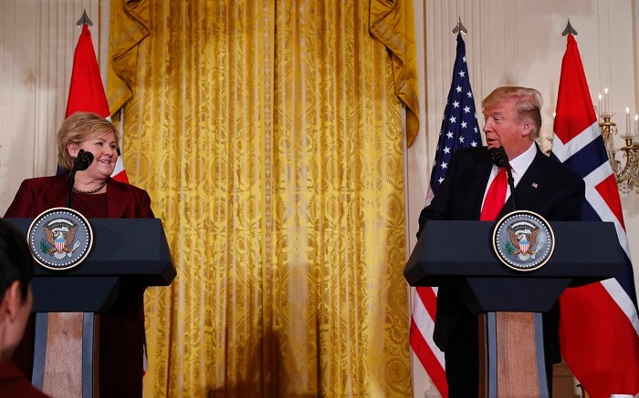 Prime Minister Erna Solberg together with US President Donald Trump