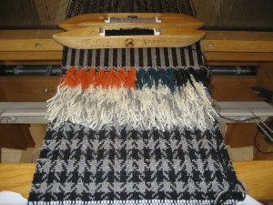 In process on the loom - Susan Andrews starts on her deep colors