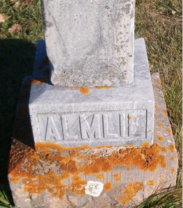 Almlie grave marker, Eagle Lake Lutheran Church Cemetery, Willmar, MN. Photo: Maggie P., Find a Grave #29219848.