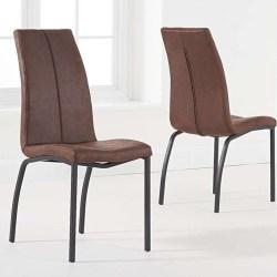 Mark Harris Nadia Antique Brown Fabric Dining Chair (Pair)