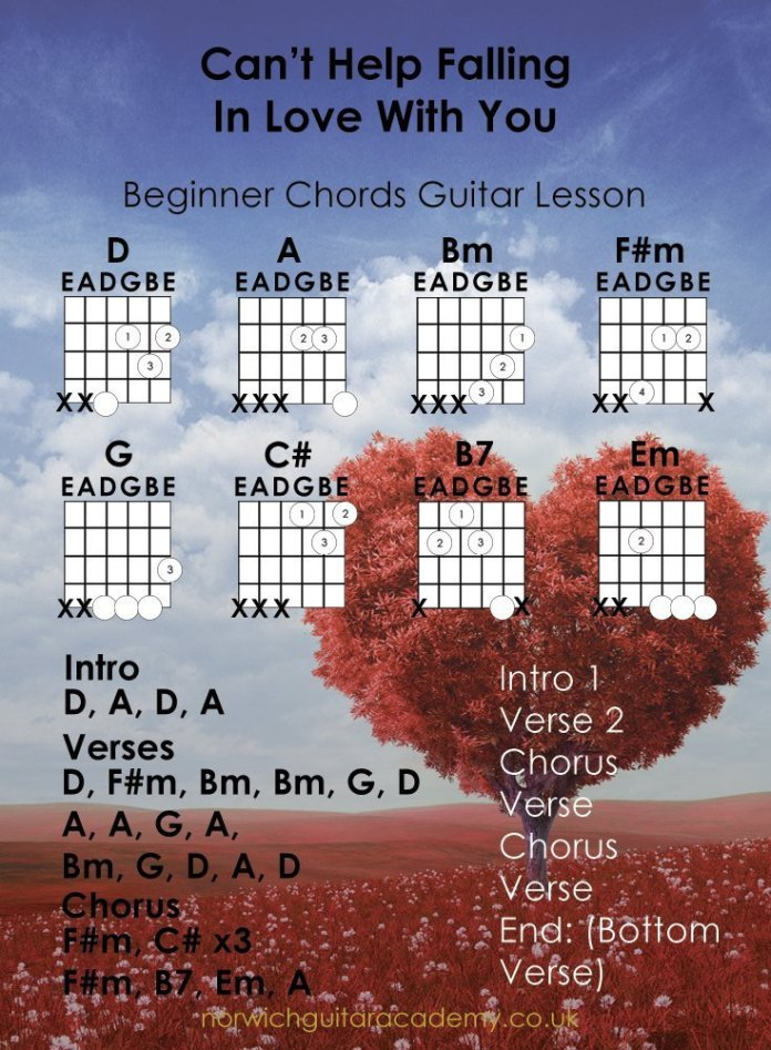 IBeginner Chords Guitar Lesson I Cant'-Help-Falling-In-Love