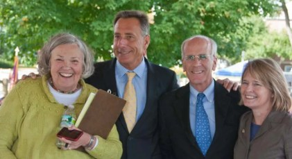 Nancy presided over Norwich's 250th Anniversary Celebration in September, 20122. Pictured here with Governor Shumlin, Rep. Peter Welsh and then State Rep. Margaret Cheney.