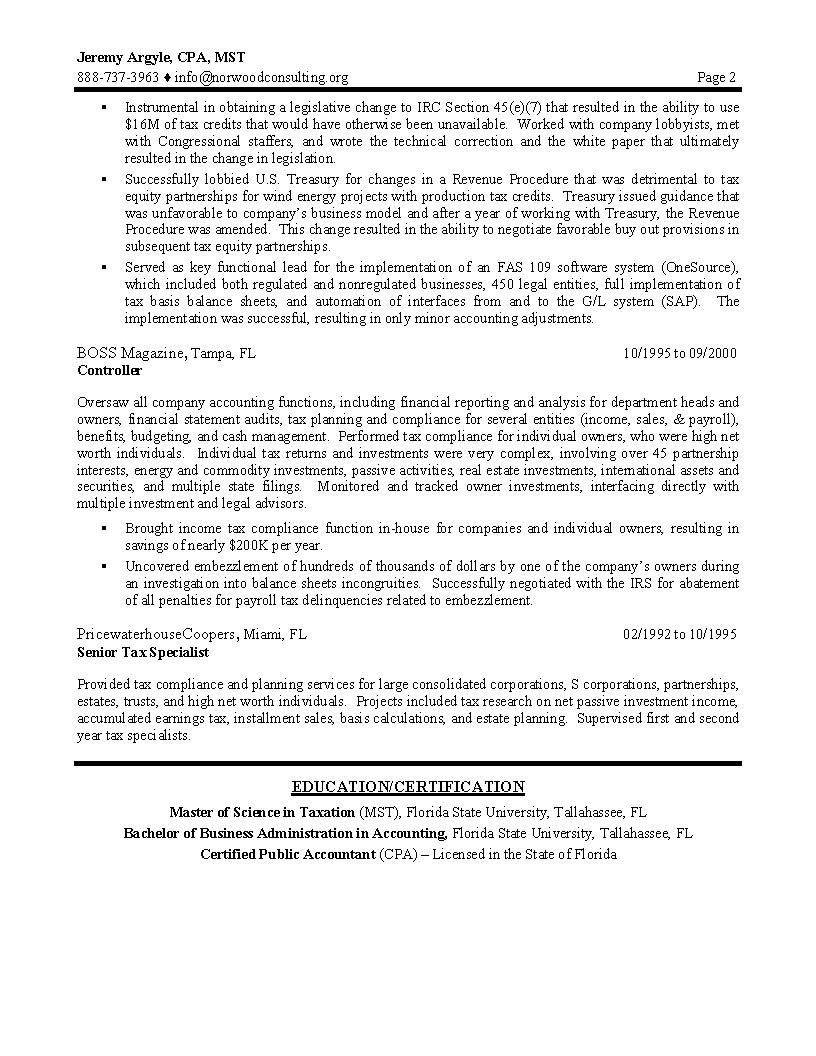 Example Of A Professional Resume Tax Director Sample Resume Professional Resume Writing Services