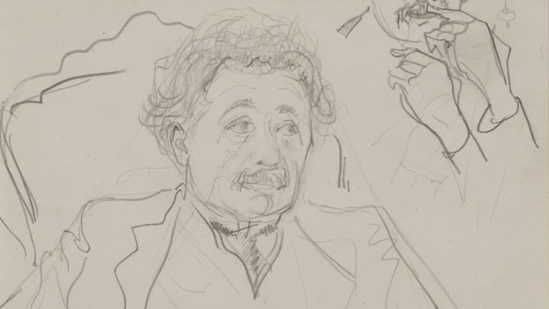 Albert Einstein, 1920 drawing by Harm Kamerlingh Onnes