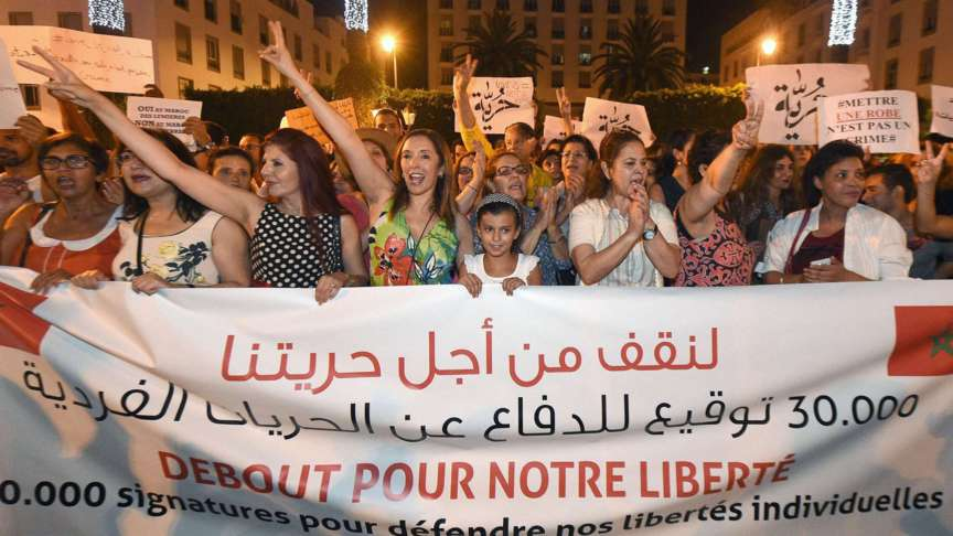 Moroccan women demonstrate for the right to wear miniskirts