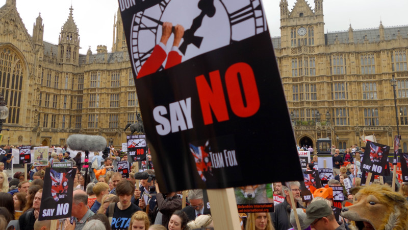 Anti-fox hunting demonstration in London today