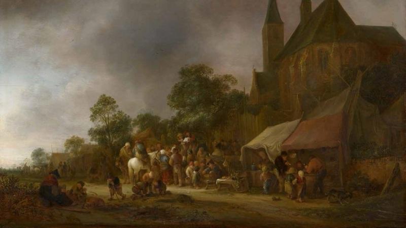 A Village Fair with a Church Behind, by Isaac van Ostade, censored version