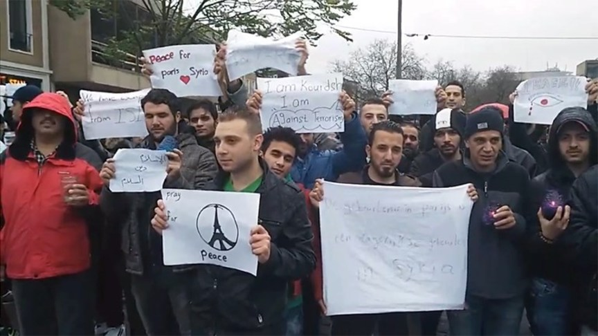Syrian demonstrators in Arnhem today