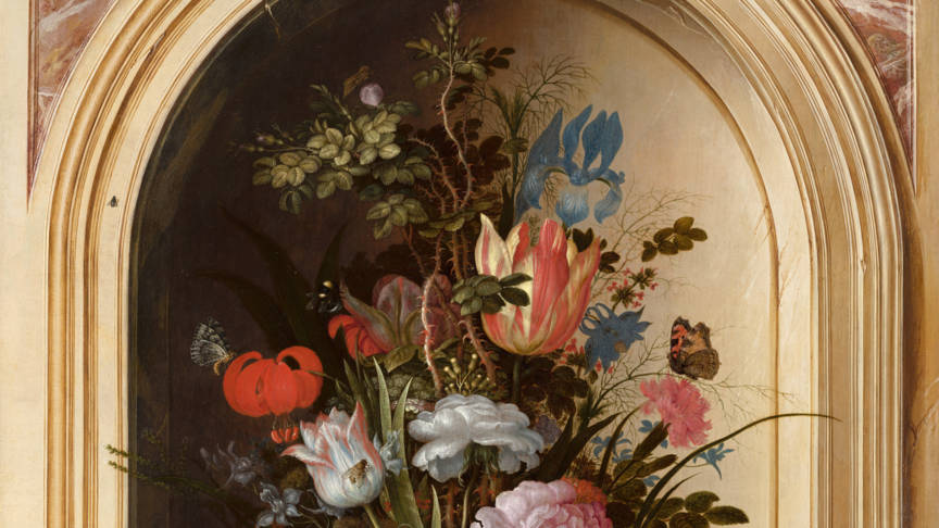 Part of Still Life of Vase with Flowers in a Stone Alcove