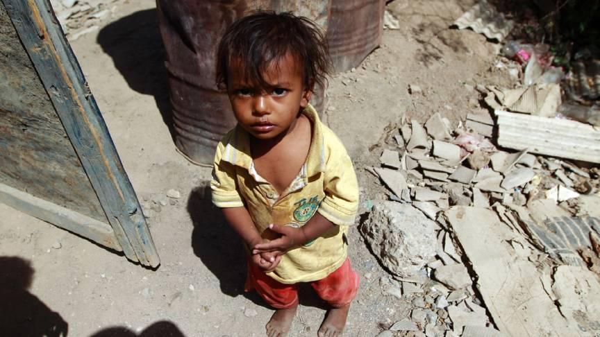 Child at Saudi-bombed home in Sanaa, Yemen