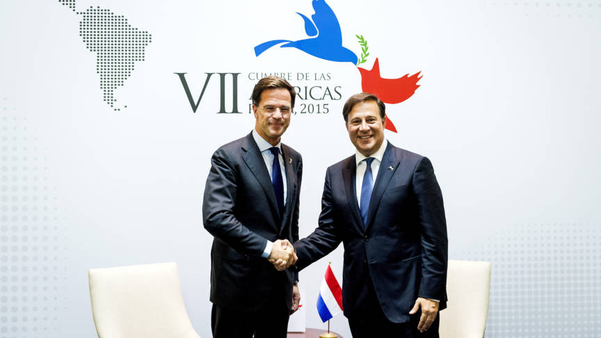 Dutch Prime Minister meets Panamanian president Juan Carlos Varela in 2015, ANP photo