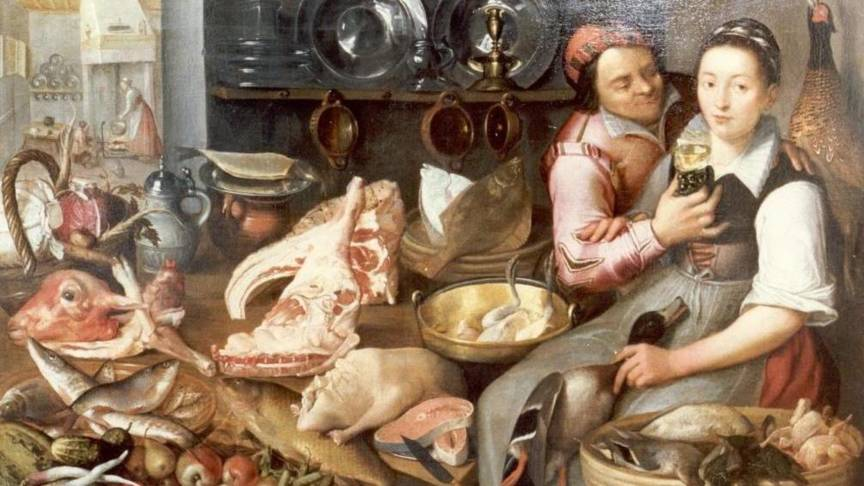 Kitchen scene, by Floris van Schooten