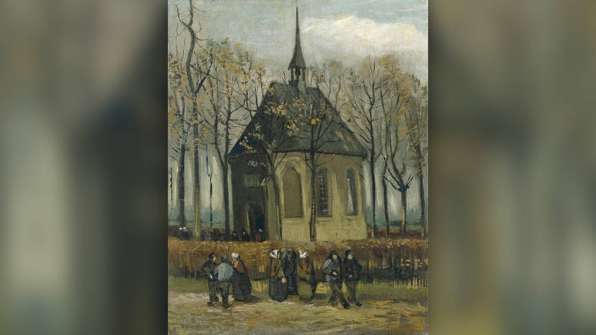 Congregation Leaving the Reformed Church in Nuenen, by Vincent van Gogh