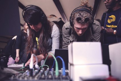 Adrienne and Jake jamming at Bleep Labs