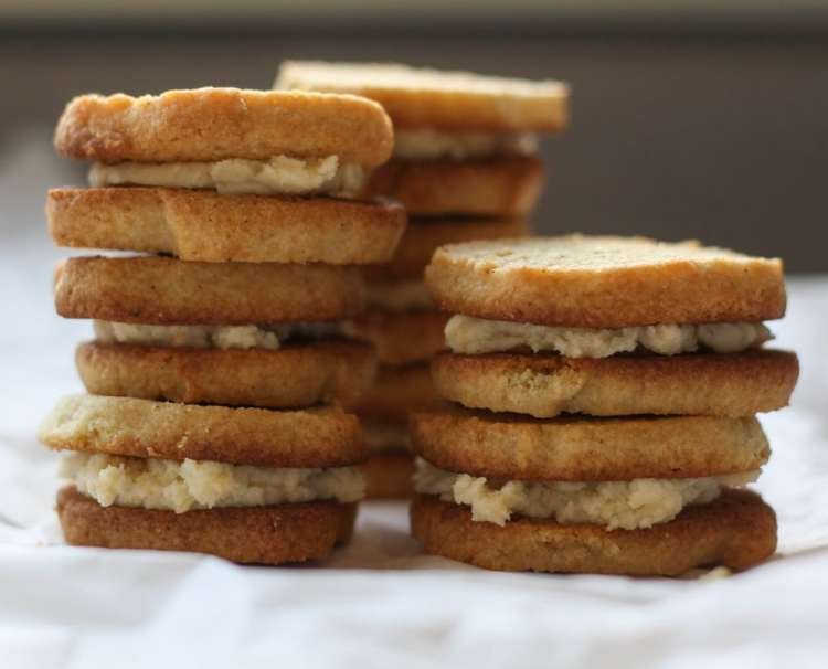 three stacks of ginger spice sandwich cookies