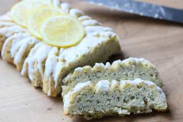 sliced loaf of healthy lemon poppy seed bread