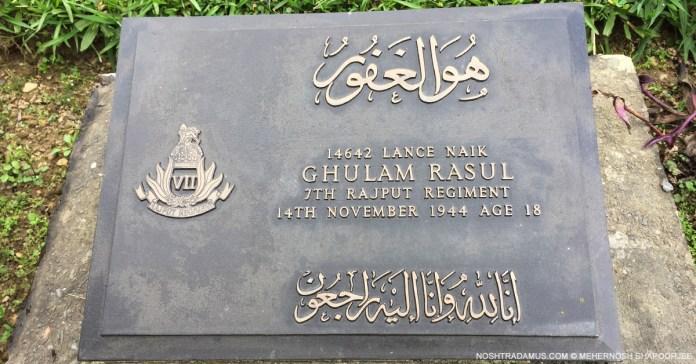 Kohima War Cemetary – Tombstone of Ghulam Rasul of 7th Rajput Regiment
