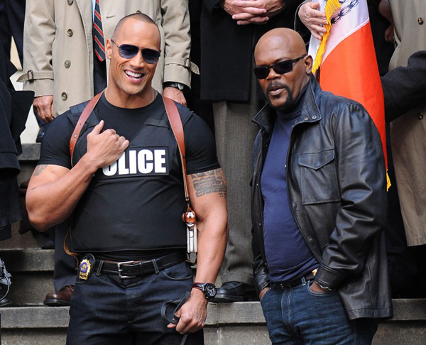 The Other Guys movie image on set Samuel L. Jackson and Dwayne The Rock Johnson