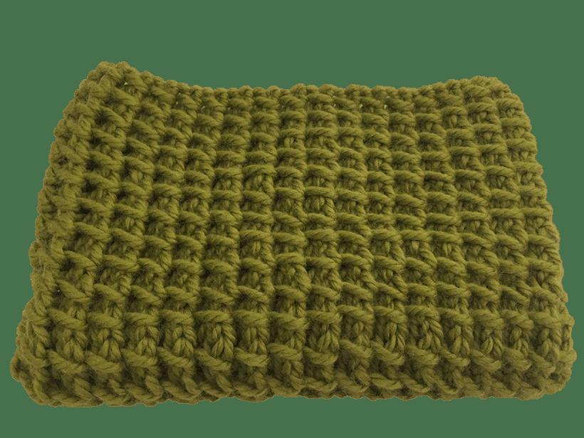 cuello tejido en dos agujaa