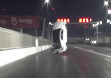 Drag racing Lexus LSF lifts off drag strip