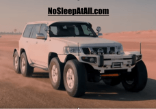 This Nissan has more axles and tires than the Mercedes Benz 6x6