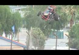 Sprint car jumps 22 foot fence Perris Auto Speedway