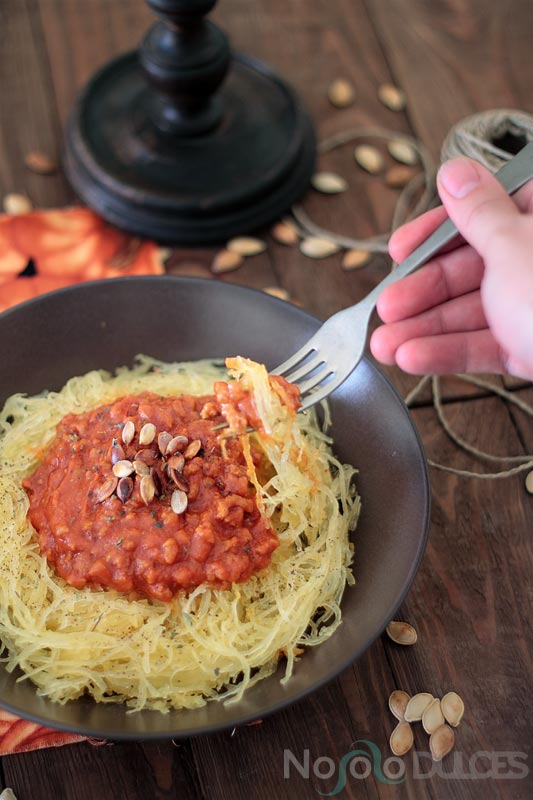 Espaguetis veganos de calabaza y boloesa  No solo dulces