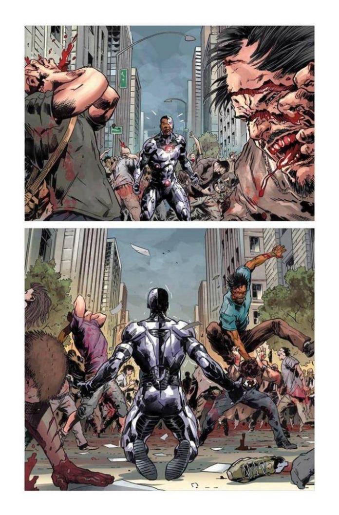 Cyborg contempla abrumado la destruccion